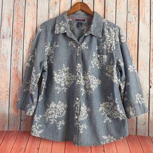 KAREN SCOTT Shirt Denim Floral-print Size XL